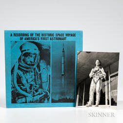 Project Mercury 7, Alan Shepard, Signed Photograph and Phonograph Record.