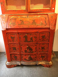 Painted and Gilded Chinoiserie Secretary Bookcase
