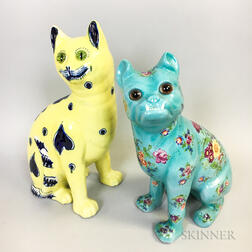 Two Gallé-style Pottery Animals