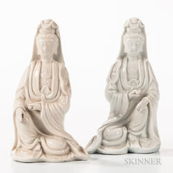 Near Pair of Blanc-de-Chine Figures of Guanyin