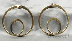 Brass Double Hoop Earrings, Art Smith