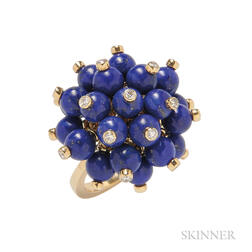 18kt Gold, Lapis, and Diamond Ring, Aletto Brothers