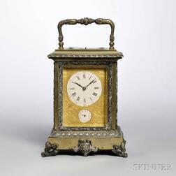 Patinated Brass and Glass Carriage Clock