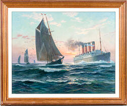 Charles Robert Patterson (American, 1878-1958)       Ocean Scene with a Steamliner and Sailboat.