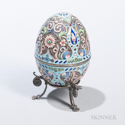 Russian-style Silver and Enamel Egg