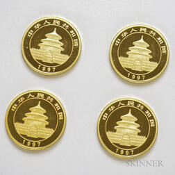 Four 1997 Chinese 25 Yuan Large Date Gold Pandas.