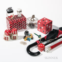 Collection of Dice and Dice-decorated Material
