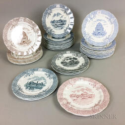Thirty-five Wedgwood Transfer-decorated World Columbian Exposition Plates