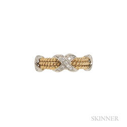 "18kt Gold, Platinum, and Diamond ""Rope Three Row X"" Ring, Schlumberger, Tiffany & Co."