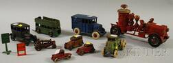 Eleven Painted Cast Iron Toy Vehicles and Accessories