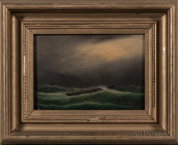 Clement Drew (Massachusetts, 1806-1889)      Steamship in a Gale