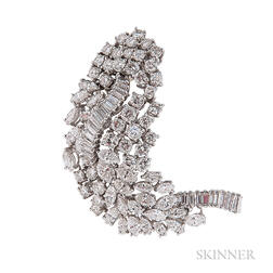 Platinum and Diamond Leaf Brooch, Van Cleef & Arpels