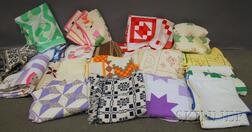 Eighteen Pieced Cotton Quilts and Two Blue and White Woven Wool and Cotton   Coverlets