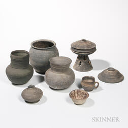 Eight Mostly Stoneware Items