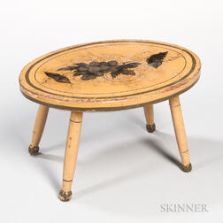 Oval Yellow-painted Maple Stool