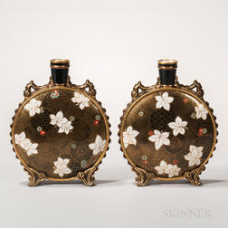 Pair of Royal Worcester Porcelain Aesthetic Movement Moon Flasks