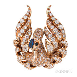 18kt Gold and Diamond Swan Brooch