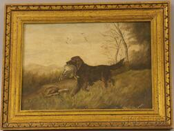 Framed 19th/20th Century Oil on Artistboard Sporting View of a Pointer with Hare