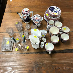Group of Decorative Glass and Porcelain Table and Tea Ware