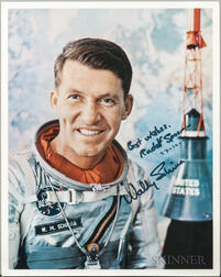 Project Mercury 7, Walter Schirra, Two Signed Photograph and Two Mission Photographs.
