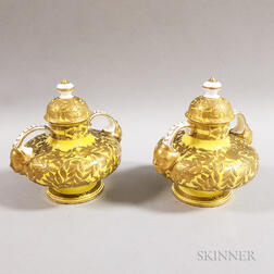 Two Crown Derby Porcelain Yellow Ground Vases and Covers