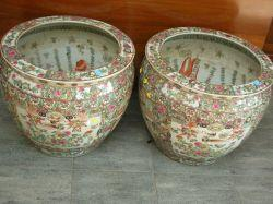 Pair of Large Chinese Export Porcelain Rose Medallion Jardinieres/Fish Bowls.