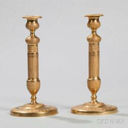 Pair of Brass French Empire Candlesticks
