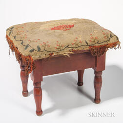 Red-painted Upholstered Stool