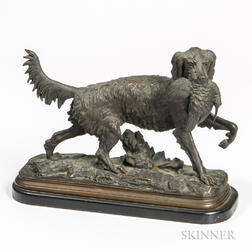After Christophe Fratin (French, 1801-1864)       Bronze Model Retrieving a Pheasant