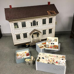 New England Colonial Dollhouse and Accessories