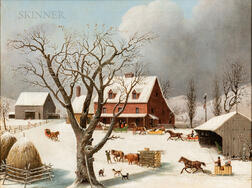 George Henry Durrie (American, 1820-1863)      Sleighs Arriving at the Inn