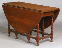 William and Mary Tiger Maple and Maple Gate-leg Table