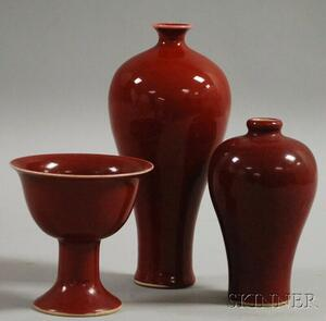 Three Small Oxblood Porcelain Articles