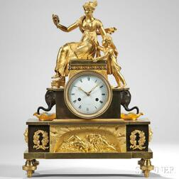 Patinated Brass and Gilt Ormolu-mounted Figural Mantel Clock