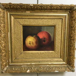 American School, 19th Century      Still Life with Two Apples.