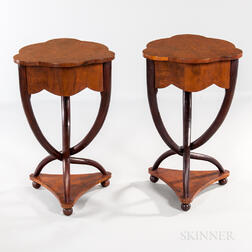 Pair of Biedermeier-style Mahogany and Mahogany-veneered Side Tables