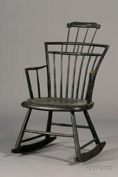 Black-painted Comb-back Rocking Arm Chair