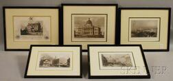 Five Framed Hand-colored Engravings of Boston