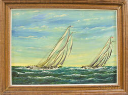 "Pierre Armand Pothier (American, b. 1873)      ""Henry S. Ford"" and ""Bluenose"" Sailing Up Wind"