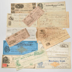Small Group of Banknotes, Checks, and Receipts