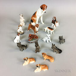 Sixteen Mostly Royal Doulton Ceramic Dogs