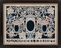 Watercolor and Cutwork Picture with Oval Portrait Blanks for Emma O. Bright