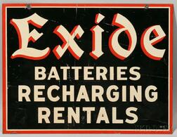 """Exide Batteries Recharging Rentals"" Double-sided Enamel Sign"