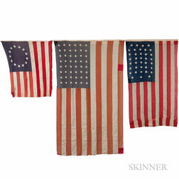 Three American Flags with History of Ownership in the Sweetser Family of Cumberland, Maine