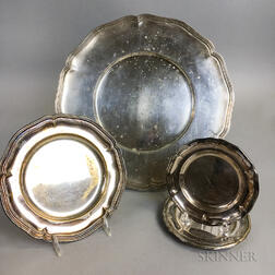 German .800 Silver Plate and Four Similar Silver-plated Plates