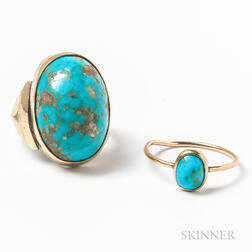 Two Gold and Turquoise Rings