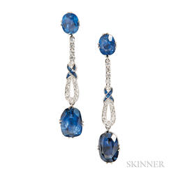 Sapphire Earrings of Art Deco Elements