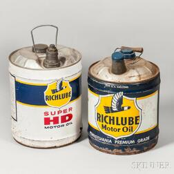 Two Richlube Motor Oil Five-gallon Can