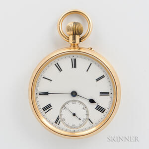 English 18kt Gold Open-face Watch