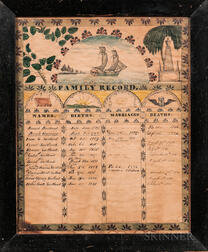 Watercolor, Ink, and Pencil Swetland Family Record